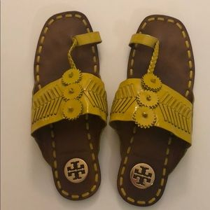 Yellow Leather Tory Burch sandals